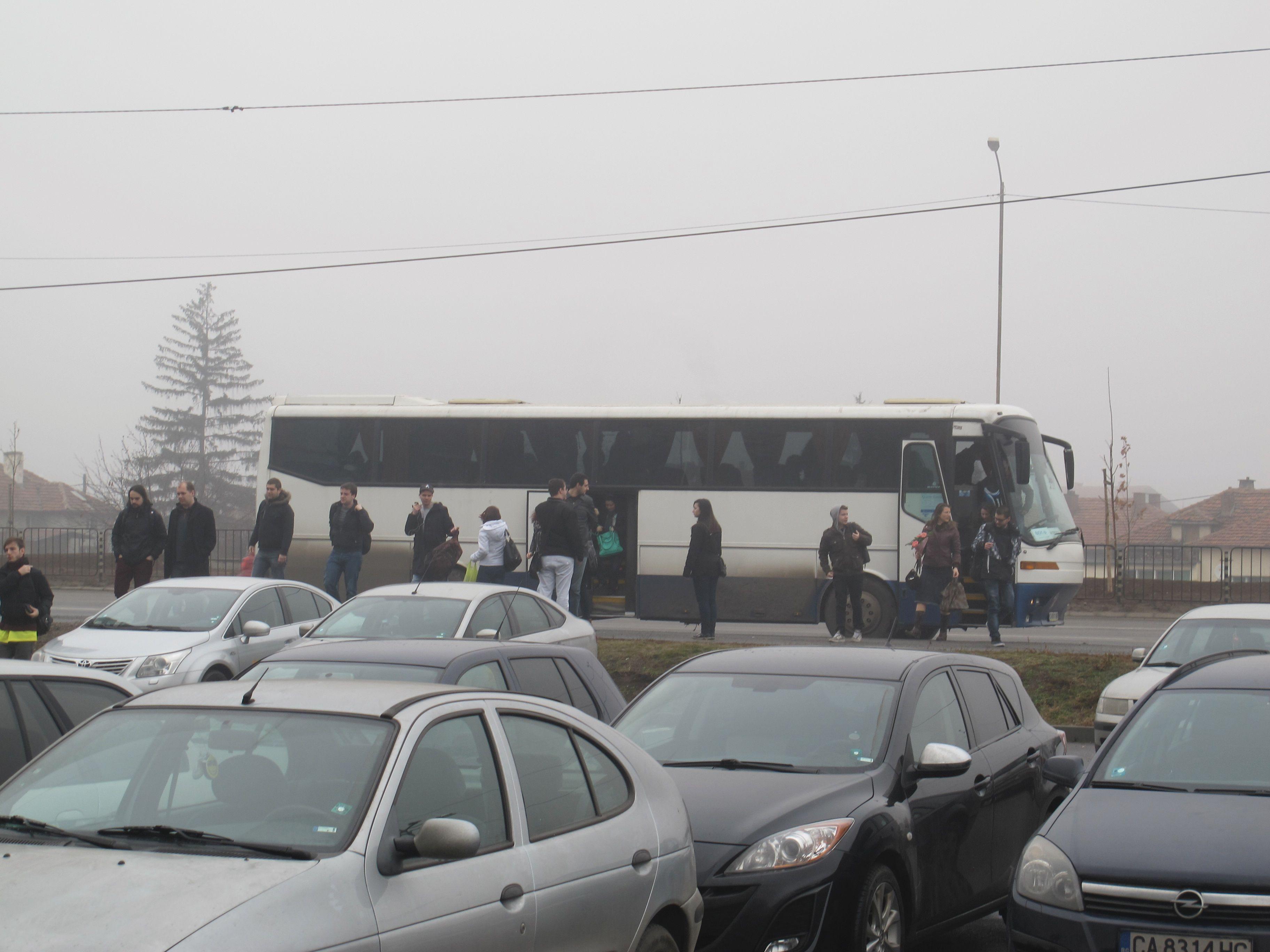L'arrivée du bus devant le site de Sofia